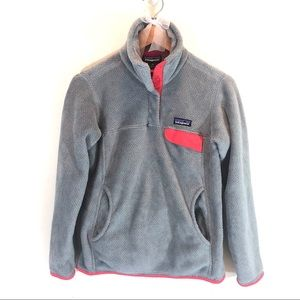 Patagonia Re-Tool Snap-T Fleece Pullover Gray Pink